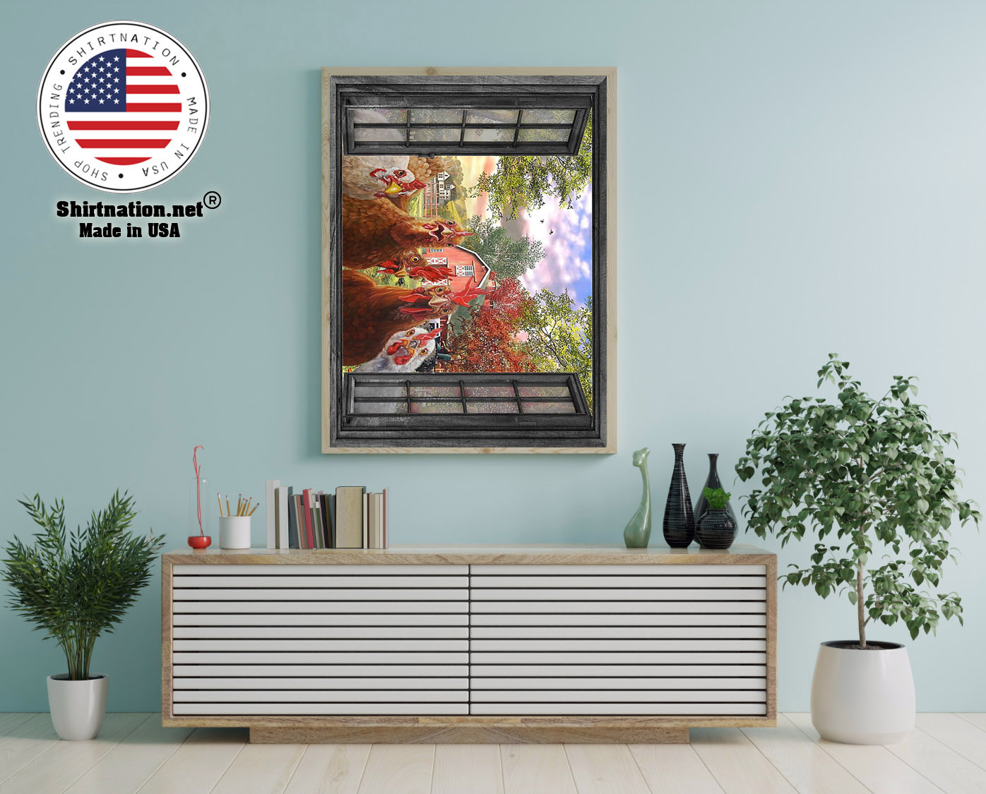 Rooster farmer window view poster 12