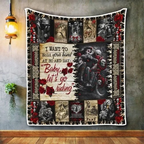Skull biker I want to hold your hand blanket 4