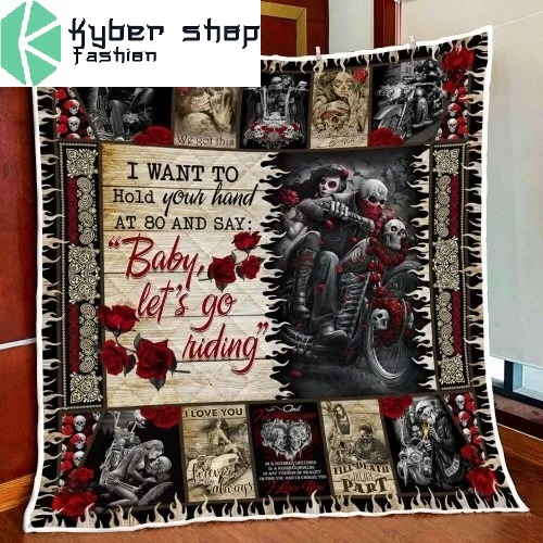 Skull biker I want to hold your hand blanket