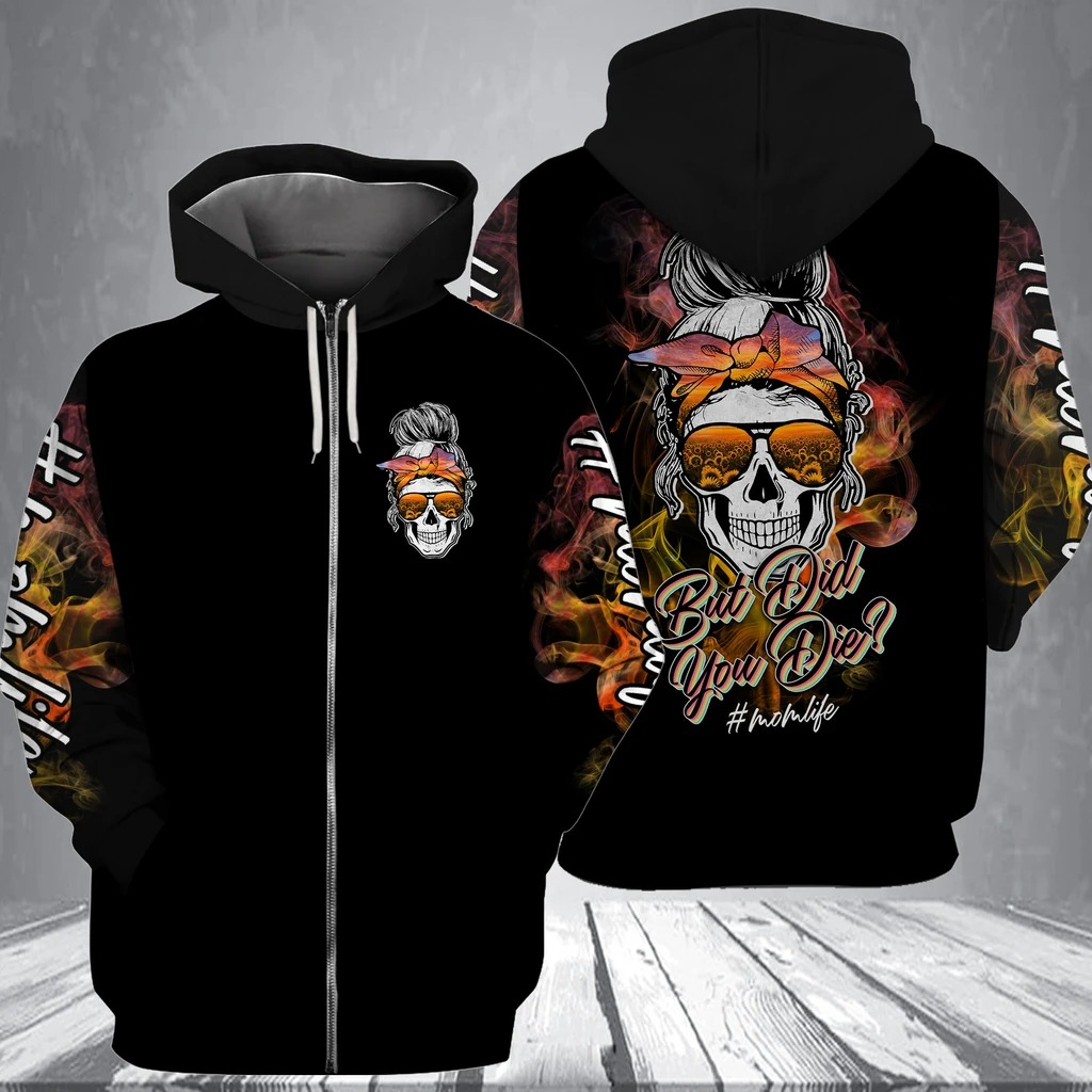 Skull but did you die sunflower 3d shirt and hoodie 2