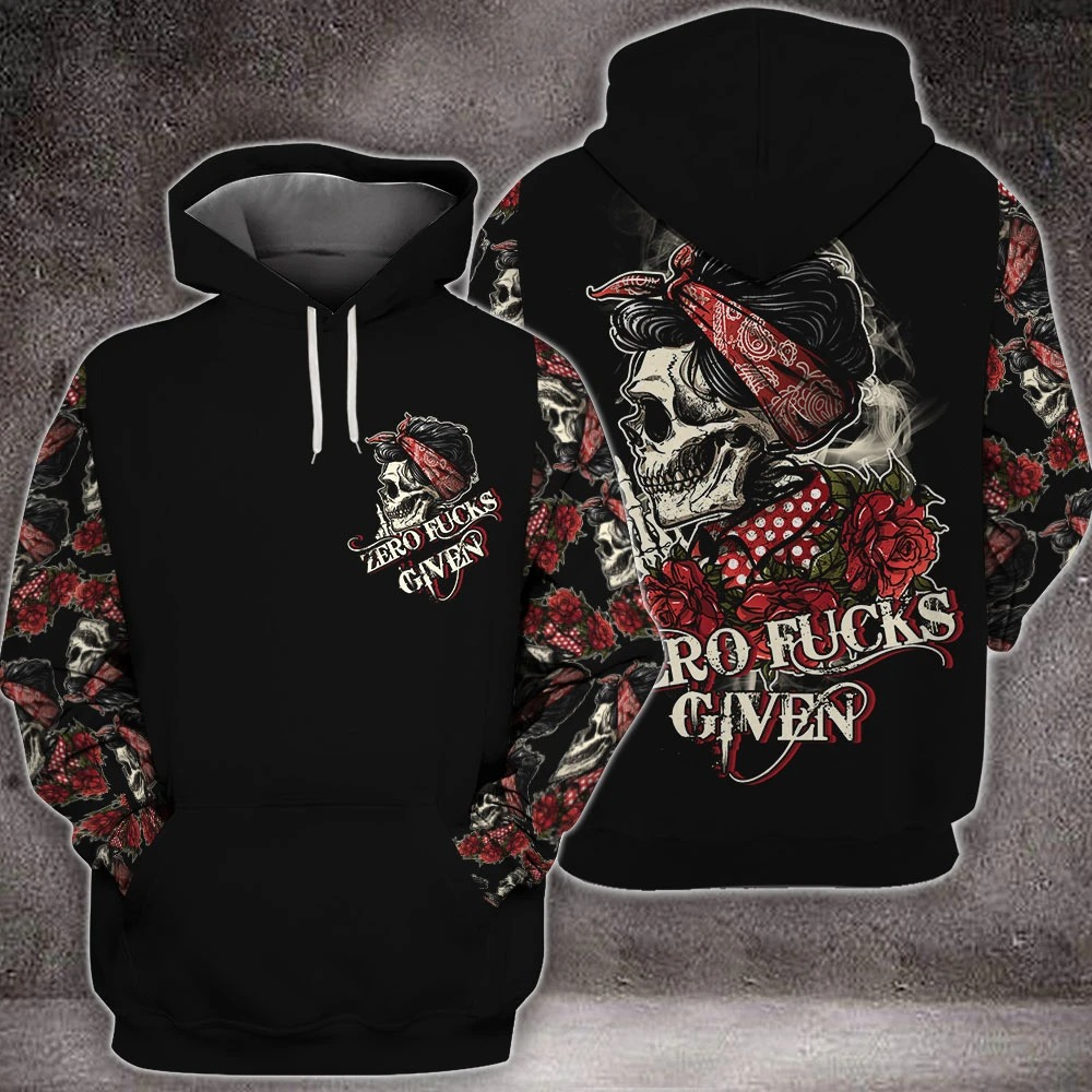 Skull rose zero fucks given 3D hoodie 2