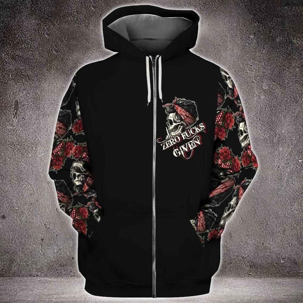Skull rose zero fucks given 3D hoodie 4
