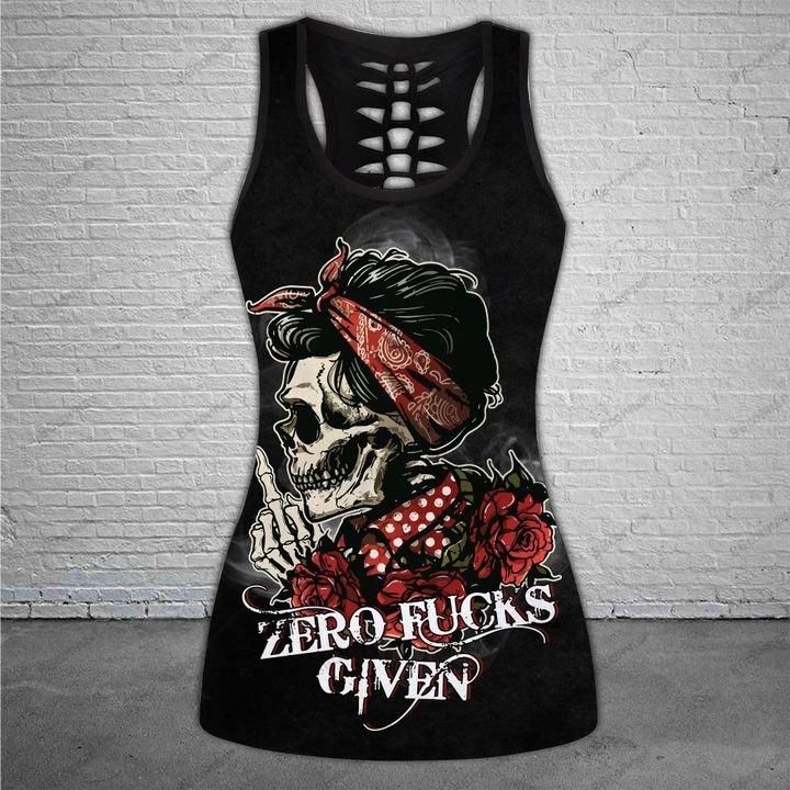 Skull zero fucks given 3D hoodie and legging 4