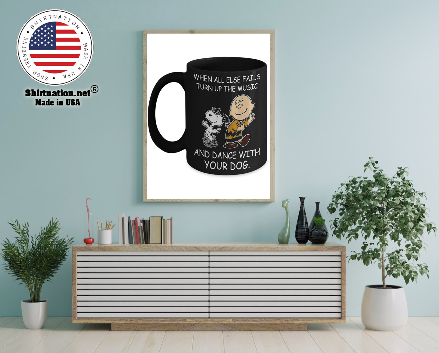 Snoopy and Charlie Brown When all else fails turn up the music and dance with your dog mug 12