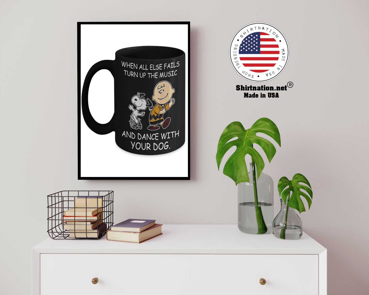 Snoopy and Charlie Brown When all else fails turn up the music and dance with your dog mug 13