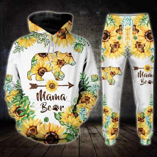 Sunflower and bear mama 3D hoodie and legging 2
