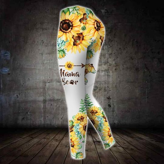 Sunflower and bear mama 3D hoodie and legging 3