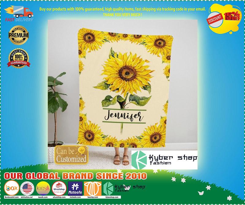Sunflower custom personalized name blanket 2