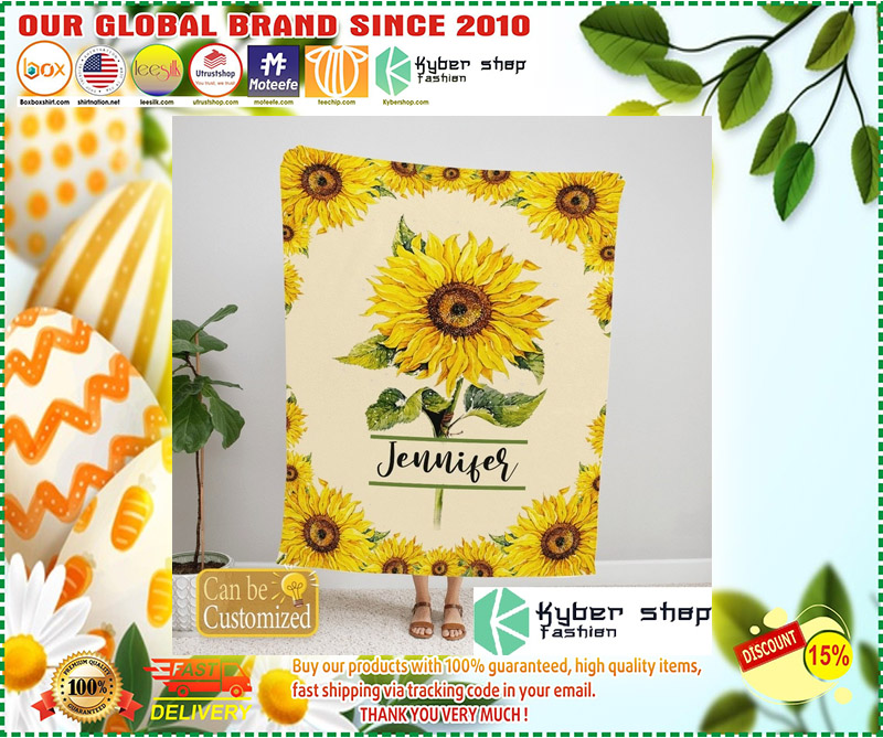Sunflower custom personalized name blanket 3