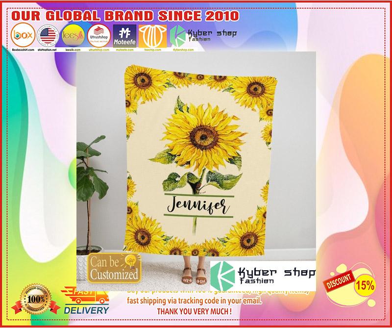 Sunflower custom personalized name blanket 4