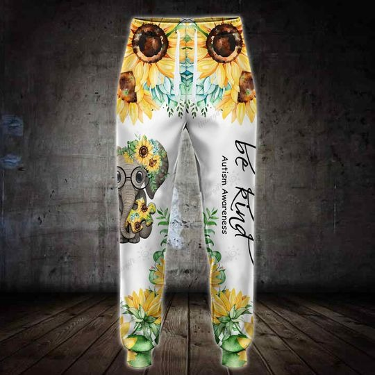 Sunflower elephant be kind autism awareness 3D hoodie and legging 3