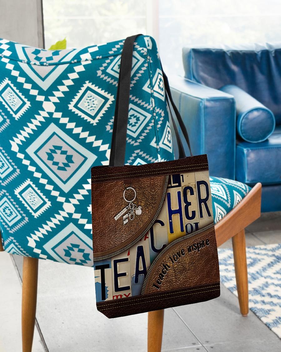 Teacher love inspire leather tote bag 1