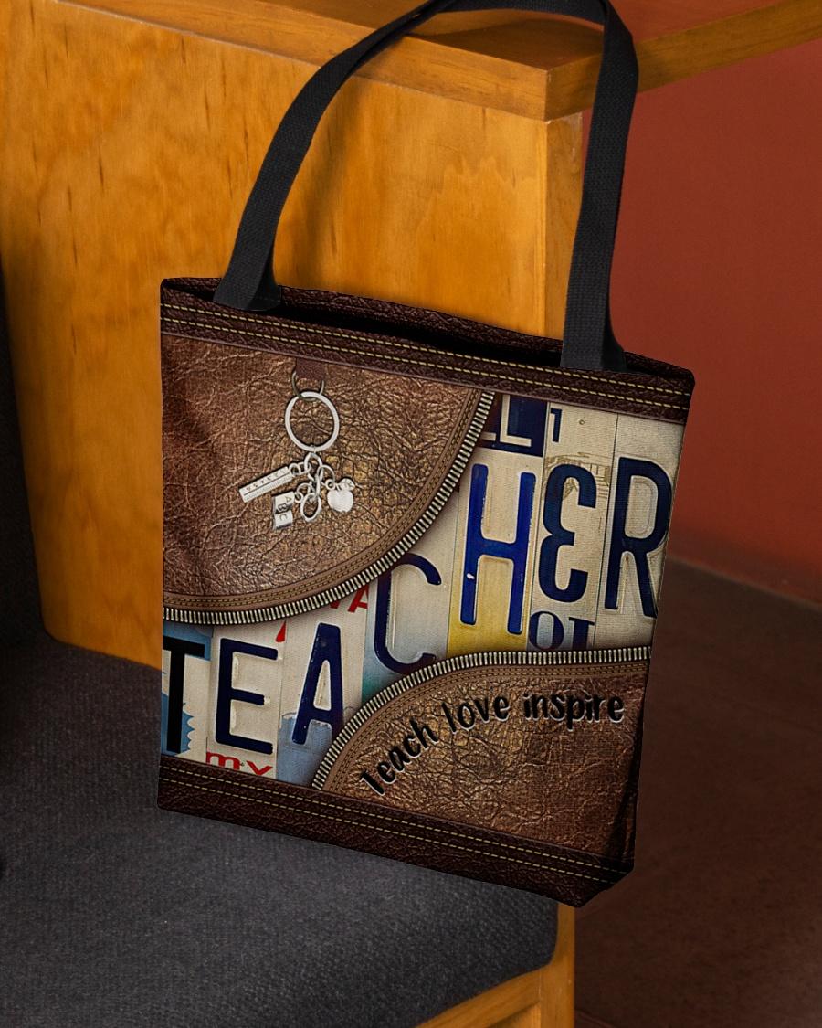 Teacher love inspire leather tote bag 2