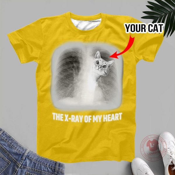 The x ray of my heart personalized cat 3D hoodie 2