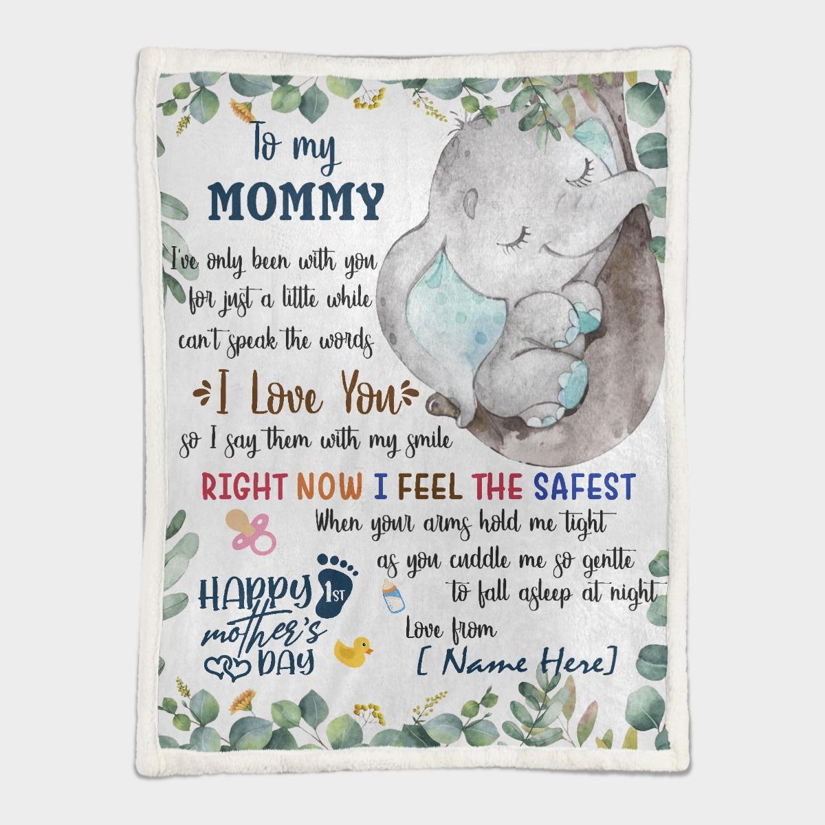 To my mom elephant custom name blanket 2 1