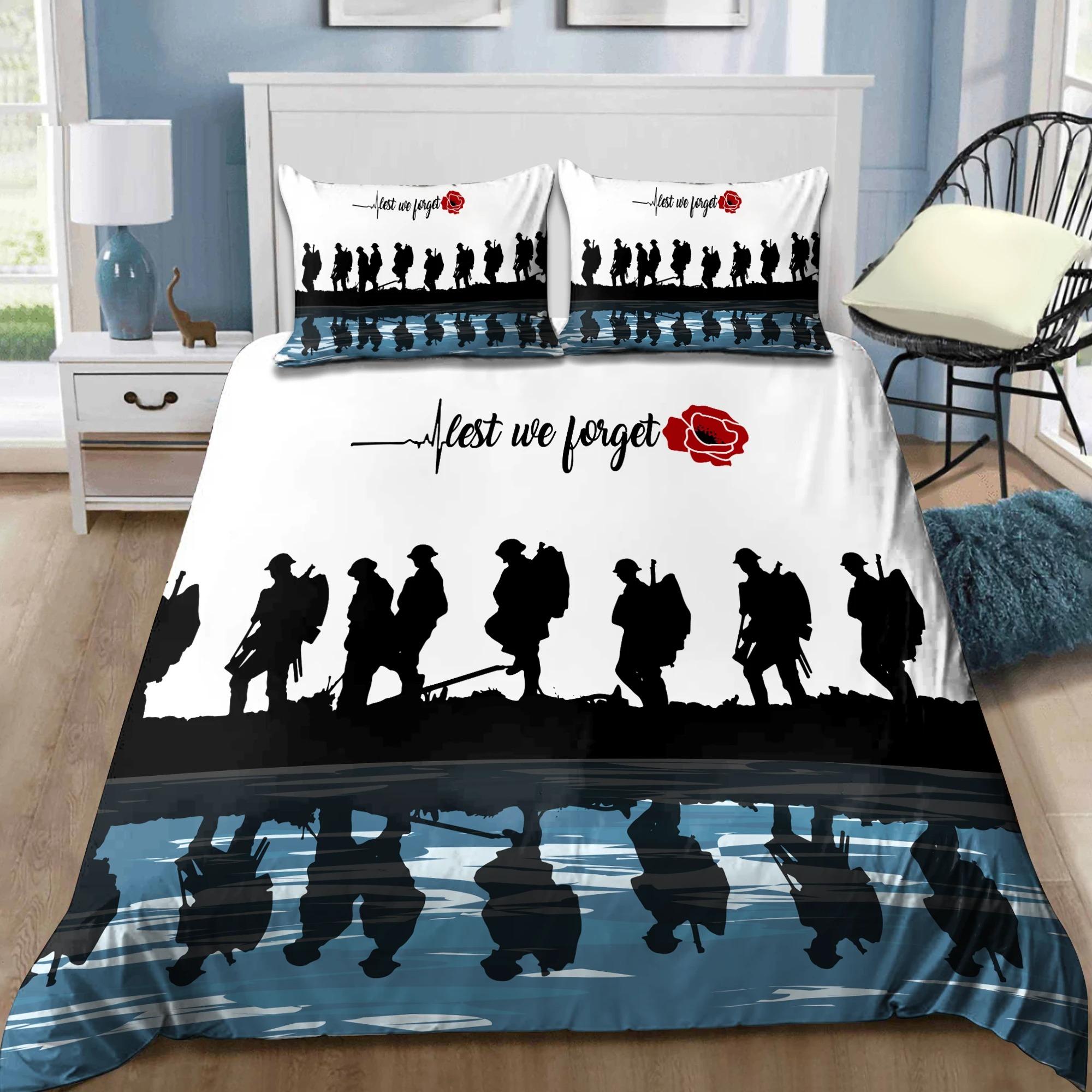 UK Veteran Let we forget honor the fallen bedding set 1