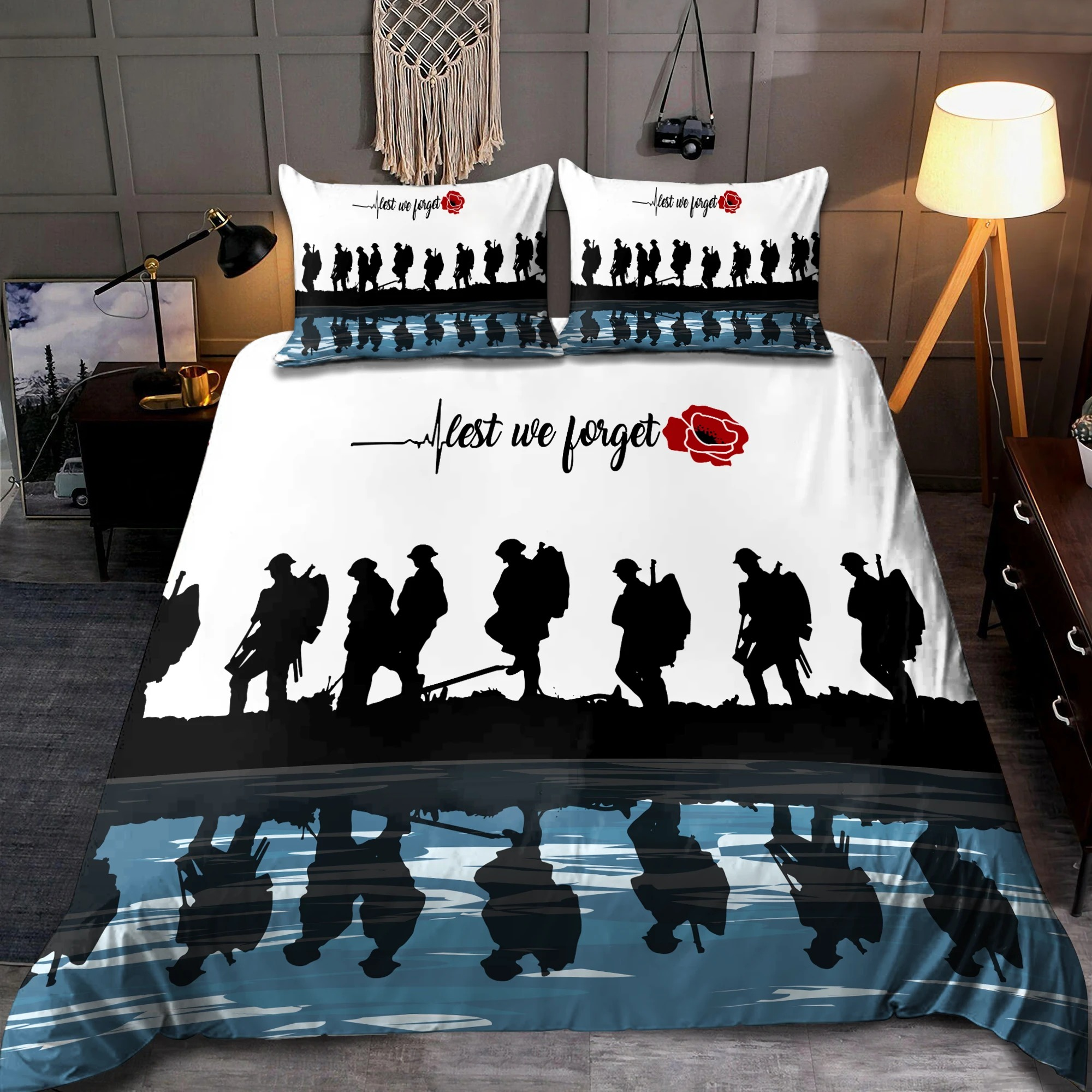 UK Veteran Let we forget honor the fallen bedding set 2