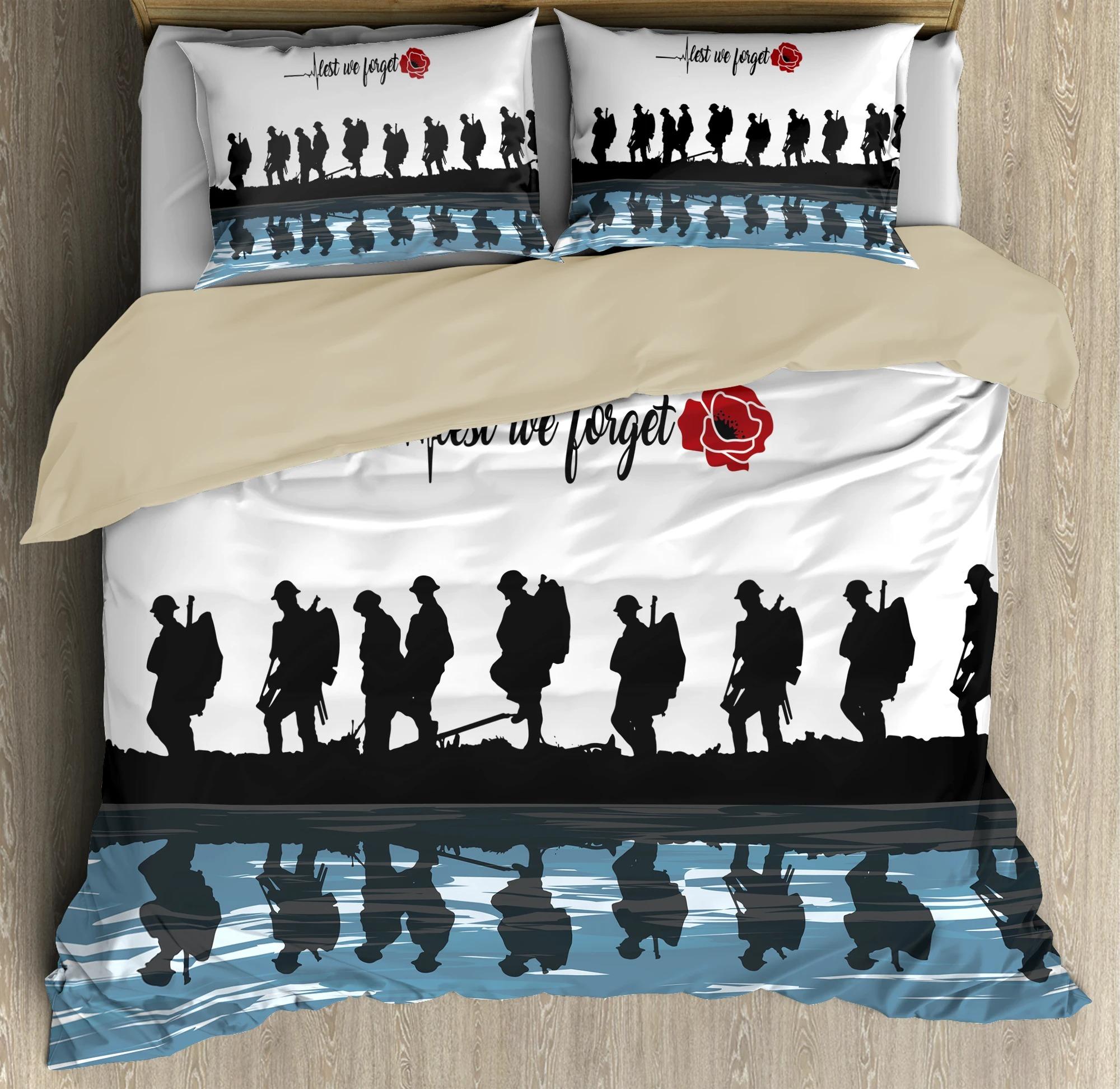 UK Veteran Let we forget honor the fallen bedding set 3