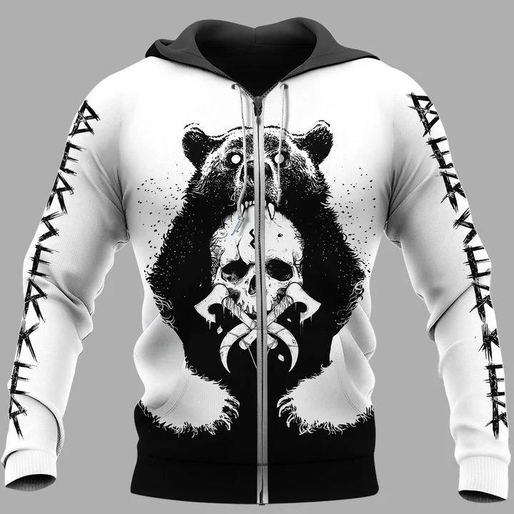 Viking and bear 3D hoodie 4