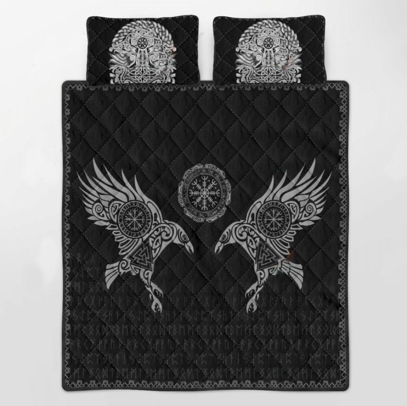 Viking the raven of Odin tattoo bedding set 3