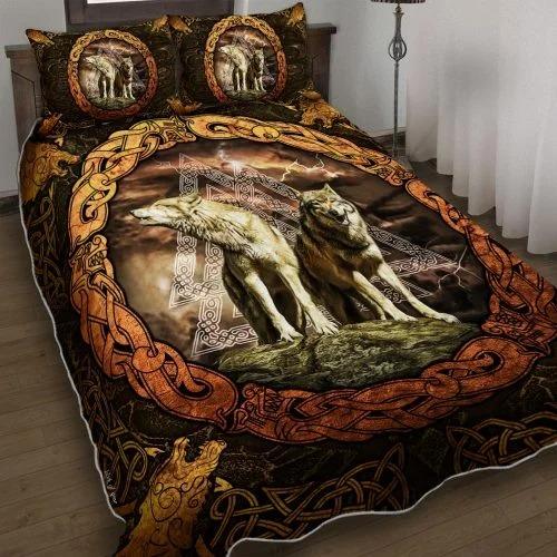 Viking wolf bedding set