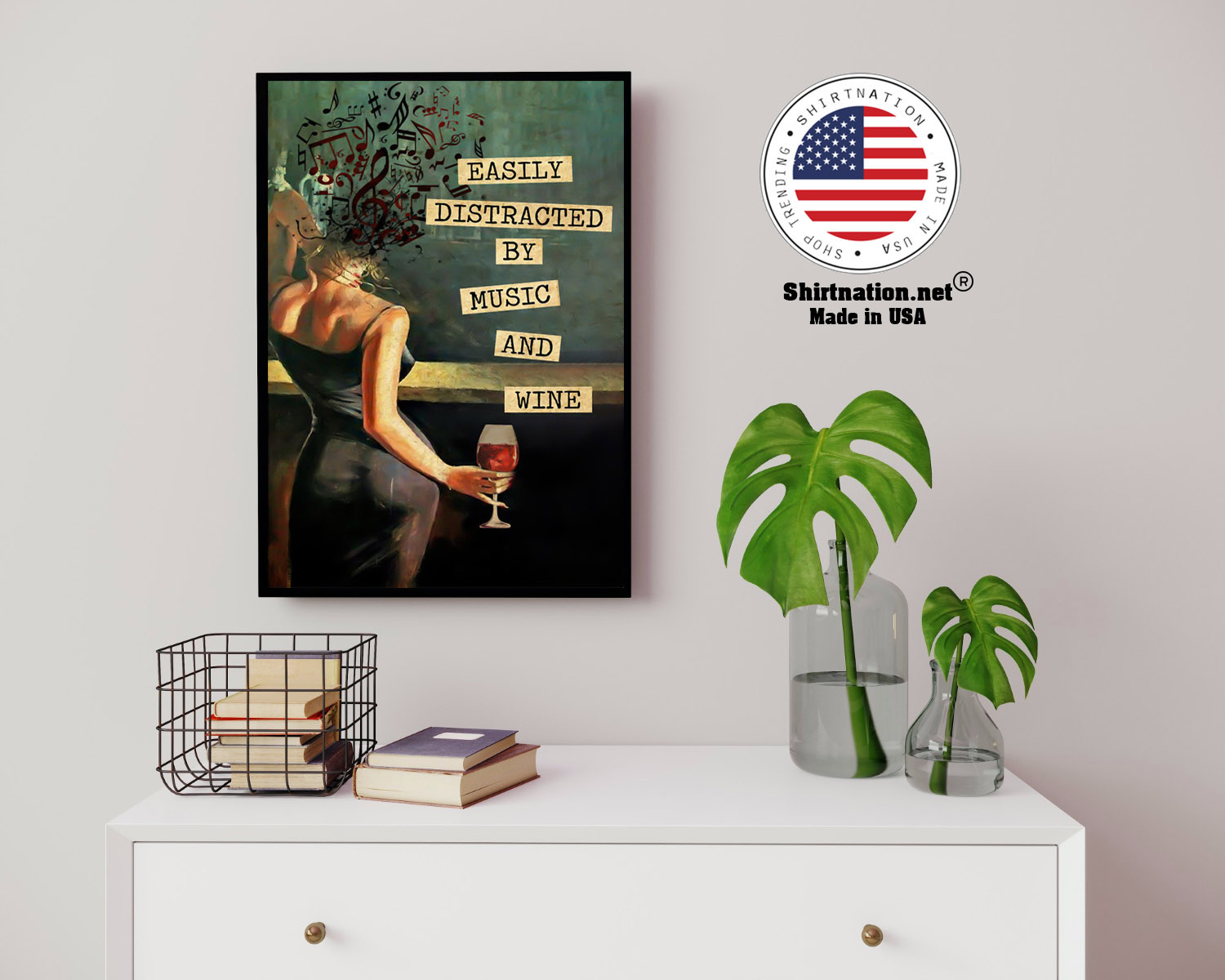 Vintage easily distracted by music and wine poster 14 3