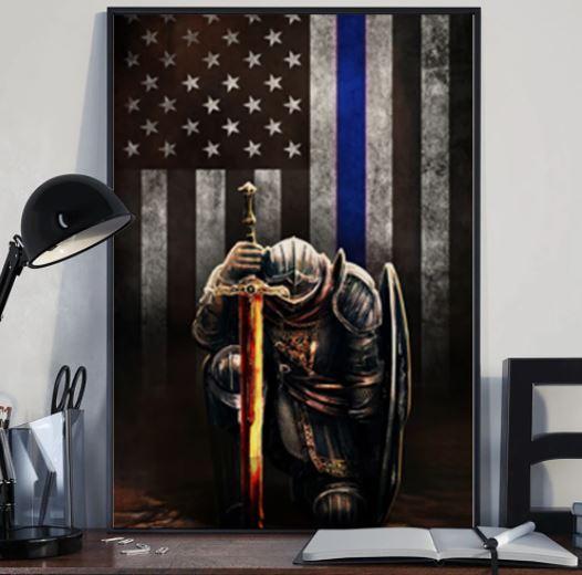 Warrior knight american blue line flag canvas 3