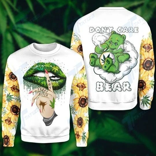 Weed dont care bear 3D hoodie 2