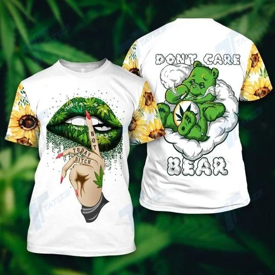 Weed dont care bear 3D hoodie 3