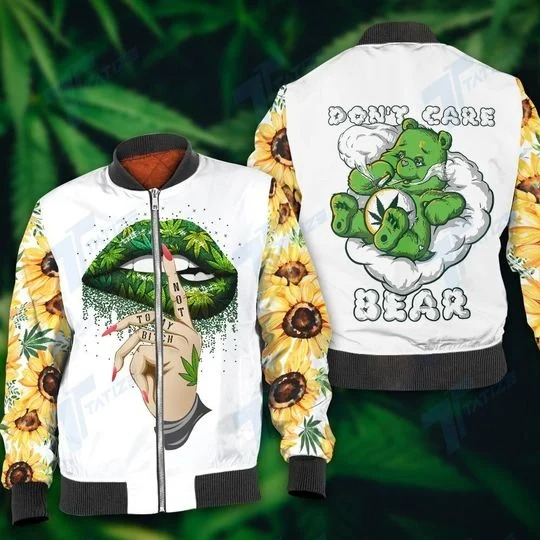 Weed dont care bear 3D hoodie 4