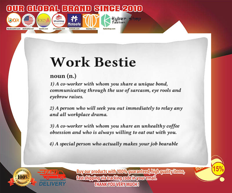 Work bestie definition a co worker with whom you share a unique bond cushion pillow 2