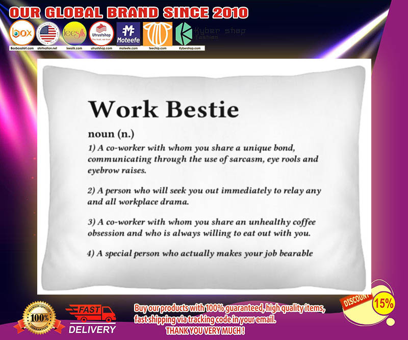 Work bestie definition a co worker with whom you share a unique bond cushion pillow 3