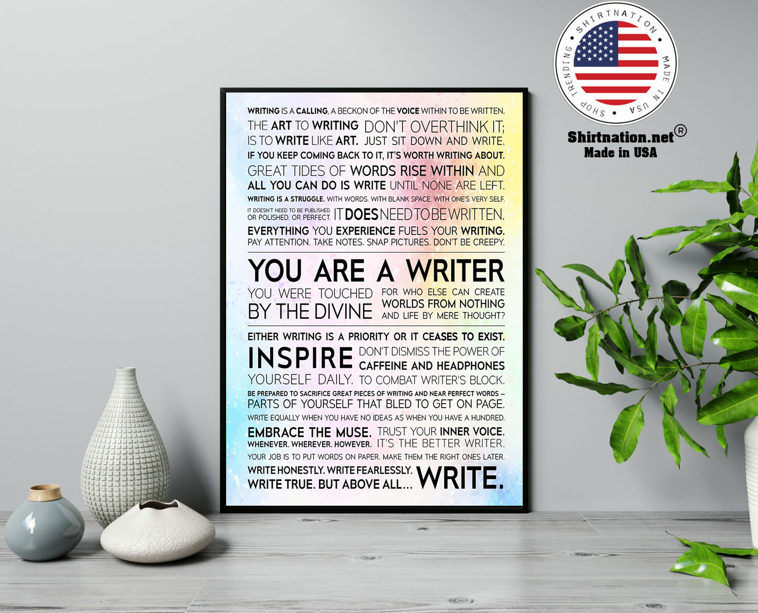 Writer Manifesto writing is a calling a beckon of the voice poster 13 1