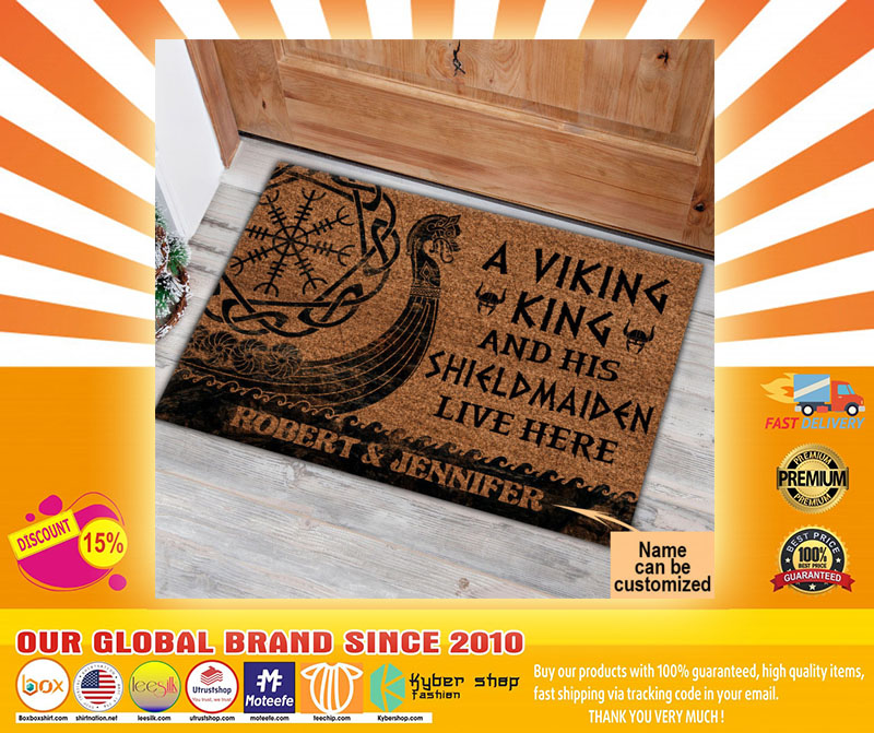 A viking and his shild maiden live here custom name doormat4