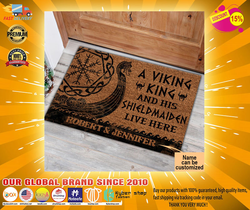 A viking and his shild maiden live here custom name doormat2