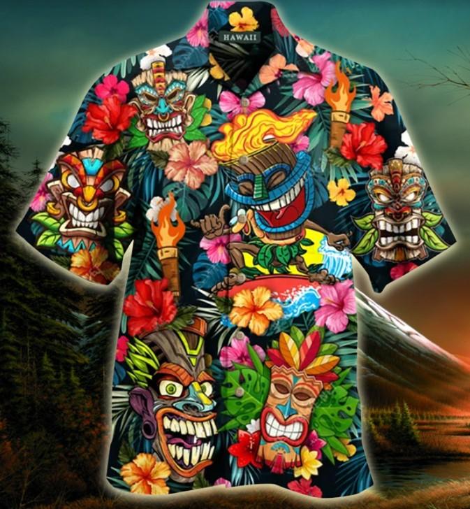 Aloha tiki tiki hawaiian shirt2