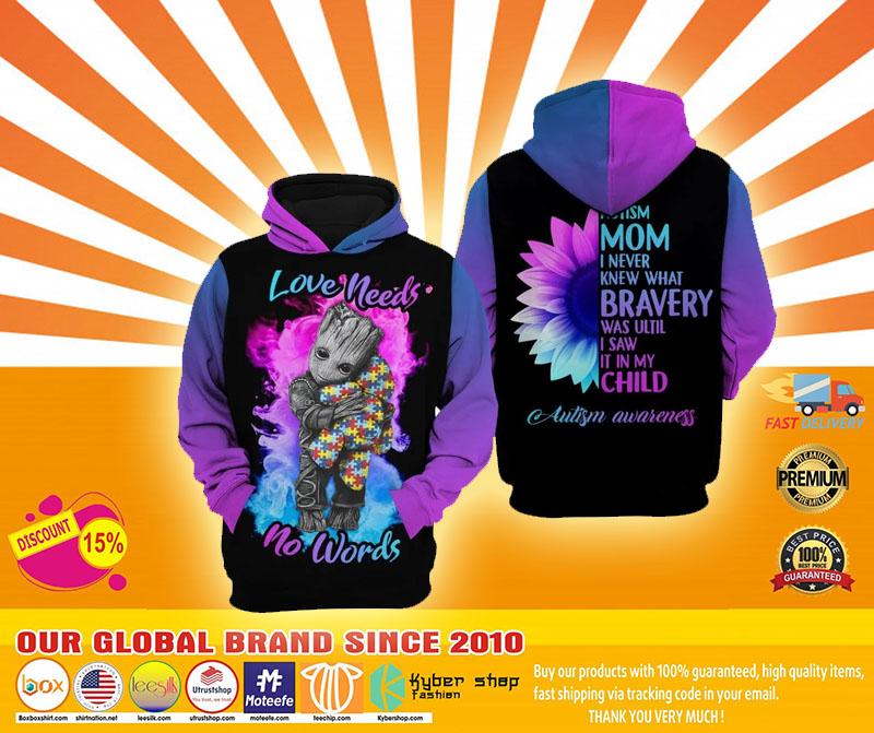 Autism mom Groot Love needs no words 3D hoodie4