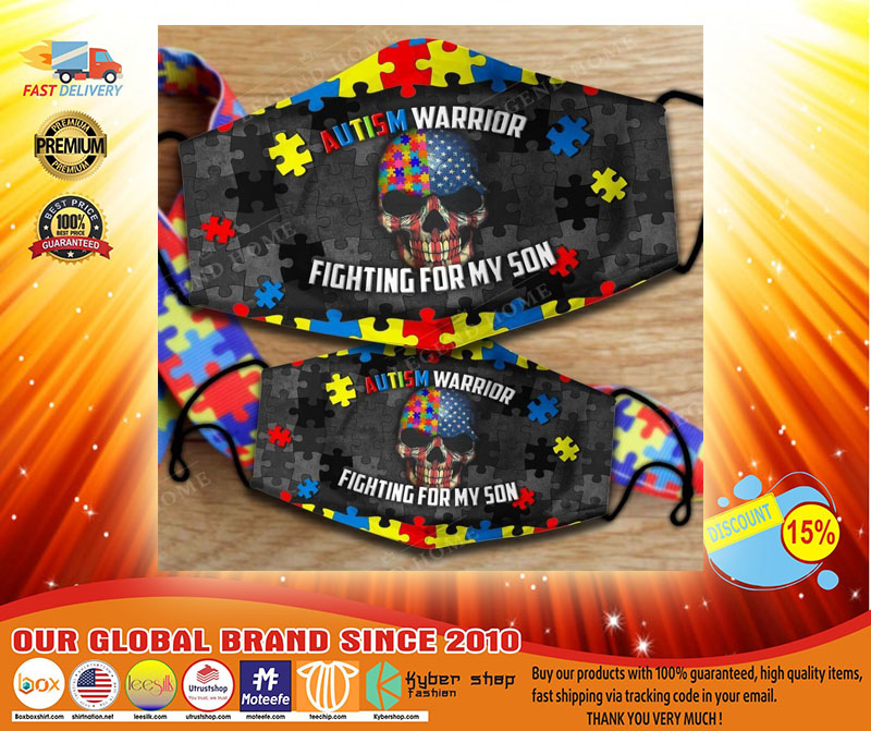 Autism warrior fighting for my son facemask3