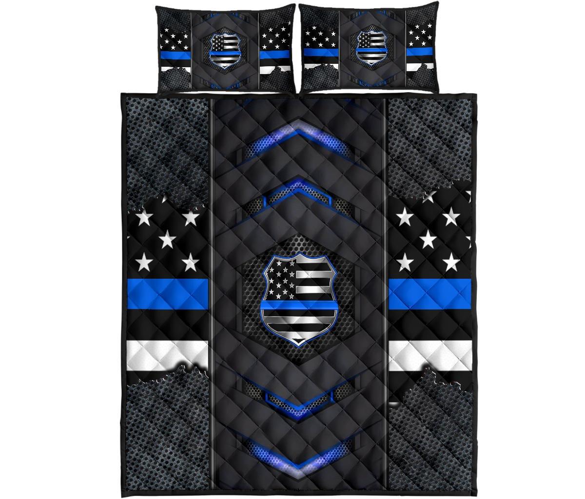 Back the blue police US flag bedding set4