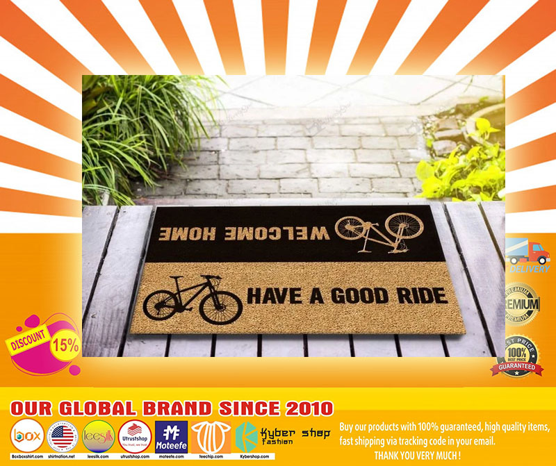 Bicycle welcome home have a good ride doormat4
