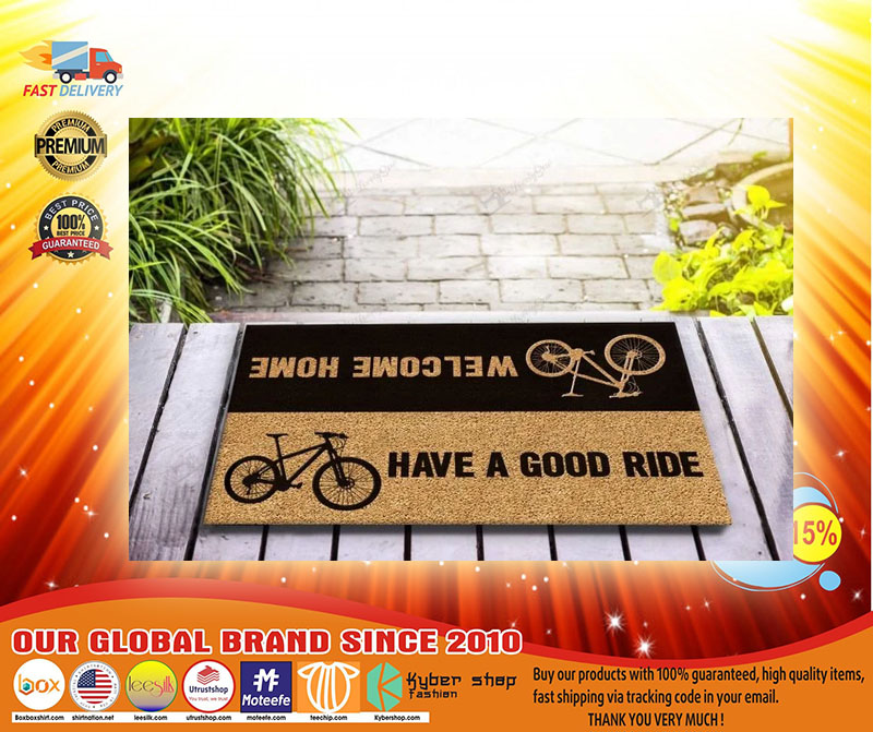 Bicycle welcome home have a good ride doormat3