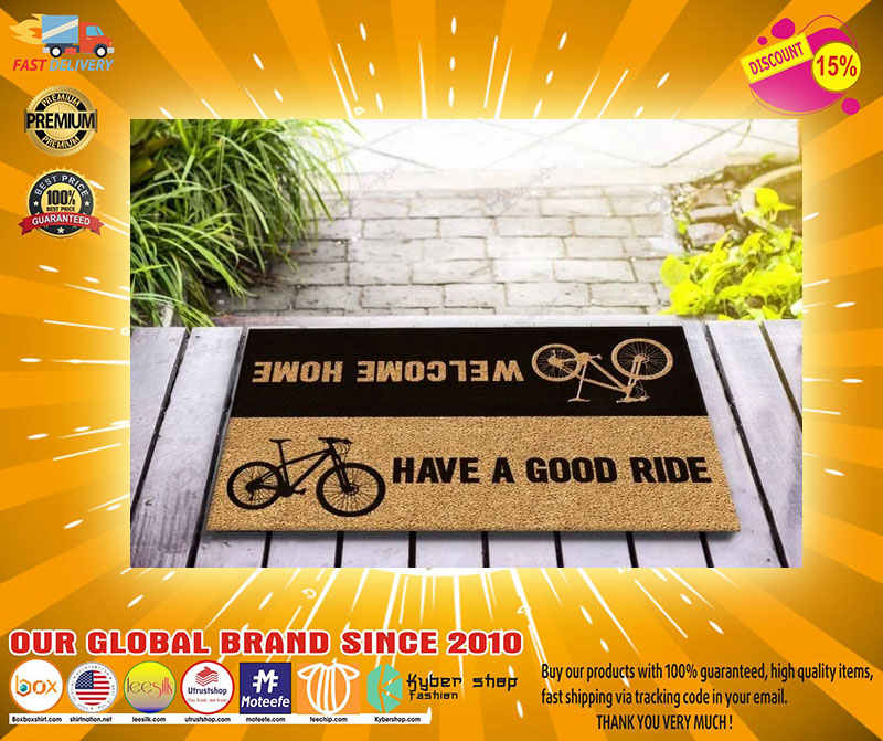 Bicycle welcome home have a good ride doormat2