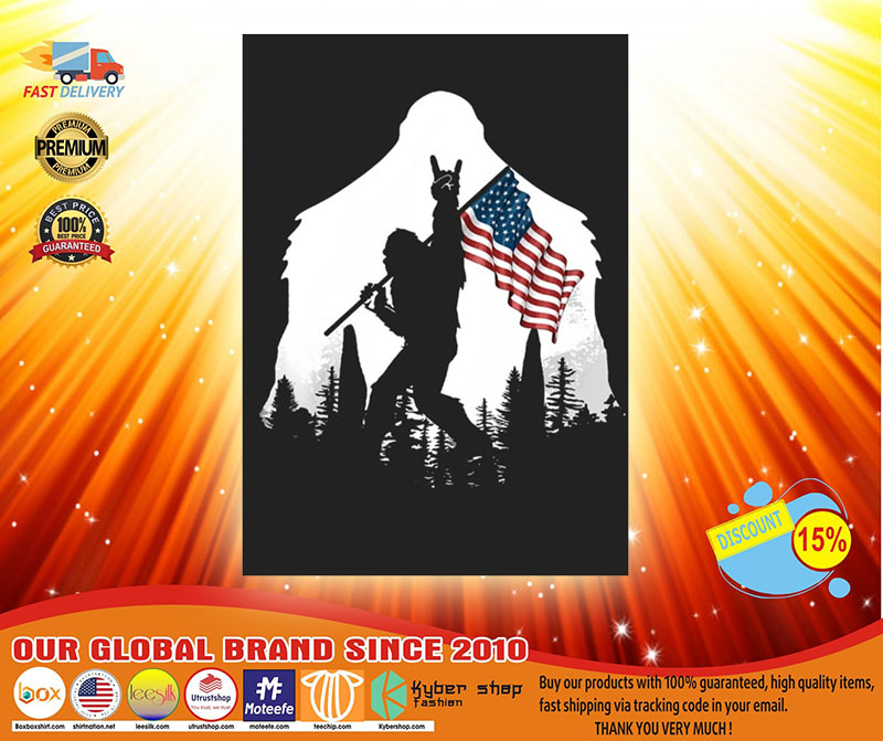 Bigfoot American flag sticker3