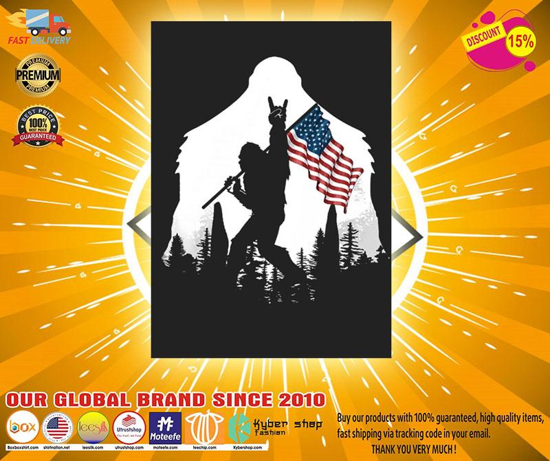 Bigfoot American flag sticker2