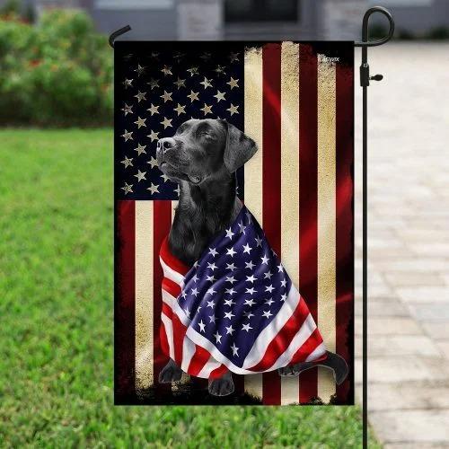Black labrador retriever american patriot flag4
