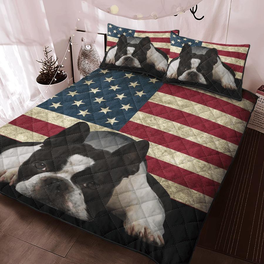 Boston Terrier American Flag bedding set4