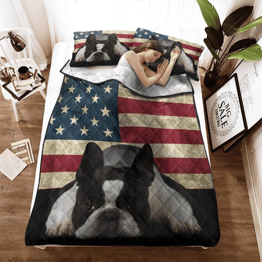 Boston Terrier American Flag bedding set3