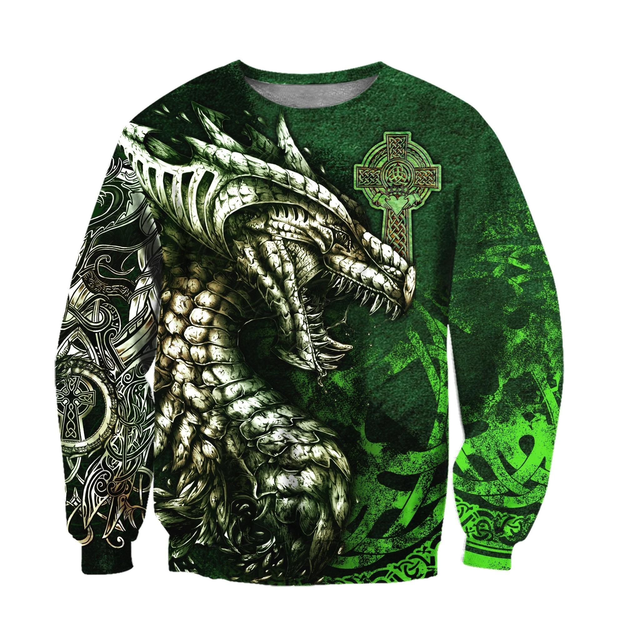 Celtic dragon tattoo 3D over print hoodie su