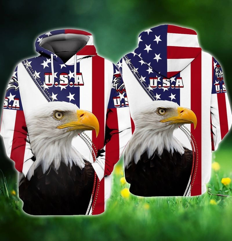 Eagle and flag american 3D hoodie3