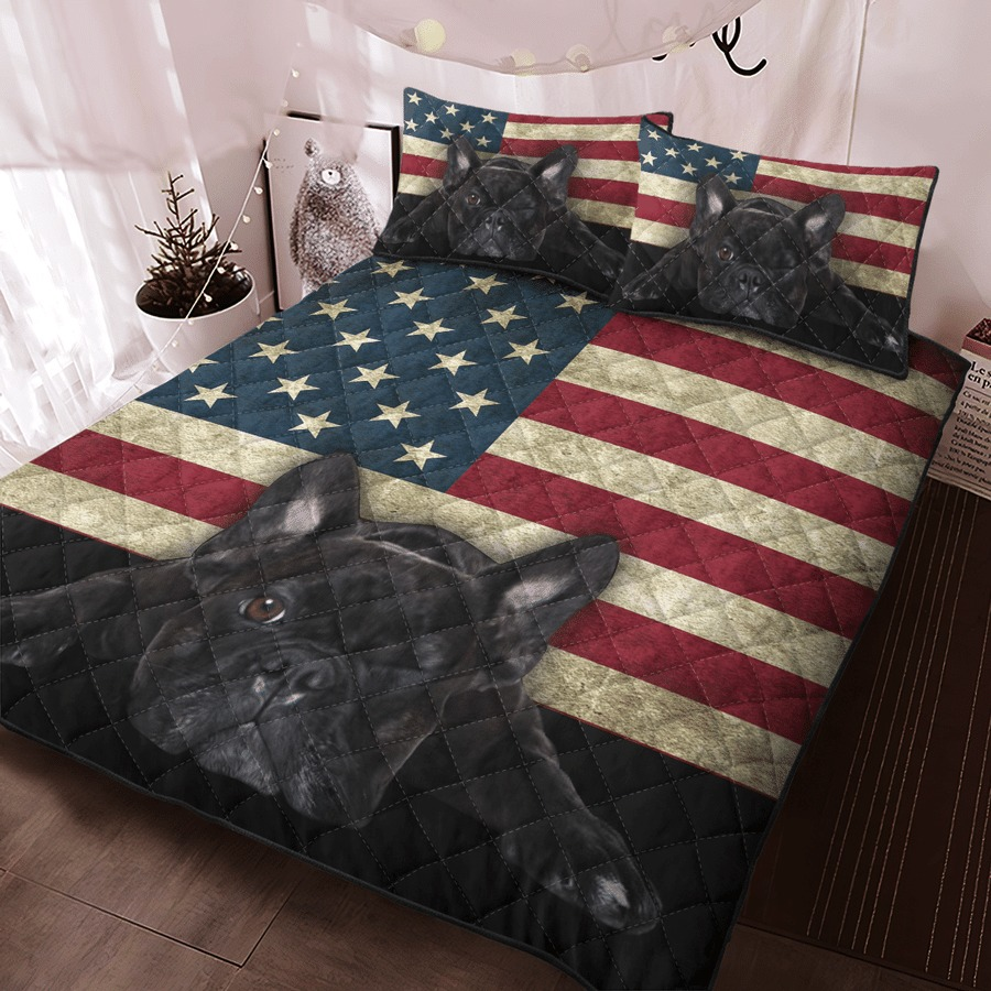 French Bulldog American Flag bedding set4